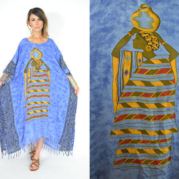 paper-thin AFRICAN egyptian tribal DRAPED boho ethnic TENT caftan maxi dress, one size fits all