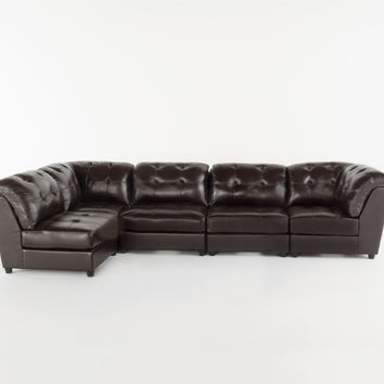 Finney Contemporary Brown Leather Sectional Couch