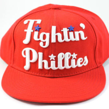 American Needle Philadelphia Cooperstown Fightin Phillies Red Fitted Hat