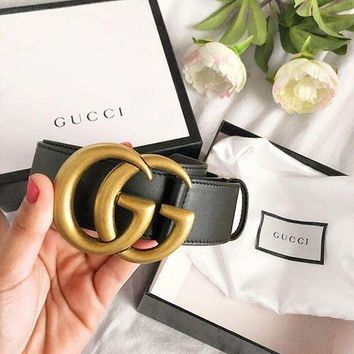GUCCI Fashion Women Men GG Pearl Smooth Buckle Leather Belt