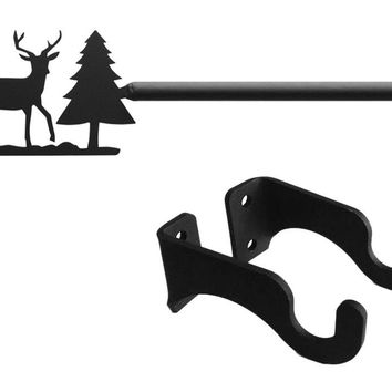Wrought Iron Deer & Pine Tree Curtain Rod