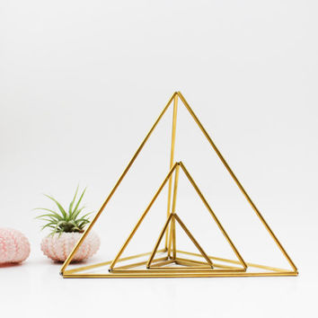 Himmeli fig. 6 - Brass Air Plant Holder | Three Nesting Triangles | Modern Minimalist Geometric Ornament