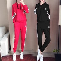 """""""Adidas"""" Women's Leisure  Fashion Letter Printing Spell Color Hooded Long Sleeve Trousers Two-Piece Casual Wear"""