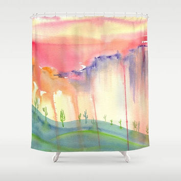 Painted Desert Shower Curtain - fabric - Southwestern - landscape Arizona, Cactus, art for bathroom,  watercolor,  decor, South West home