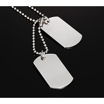 Stainless Steel Double Dog Tag Necklace Pendant ID Men Jewelry 24""