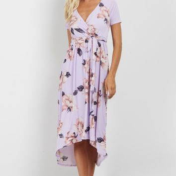Lavender-Floral-Hi-Low-Wrap-Dress