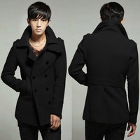 Men's Black Grey New Solid Outwear Woolen Double-breasted Coat