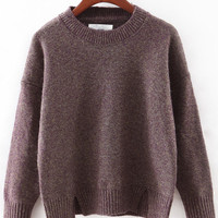 Round Neck Split Loose Sweater