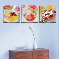 Home Kitchen Decor Pictures Fresh Fruit Salad Wall Decorative Oil Painting Canvas 3 Panel Art Core For Framework Modern Realist