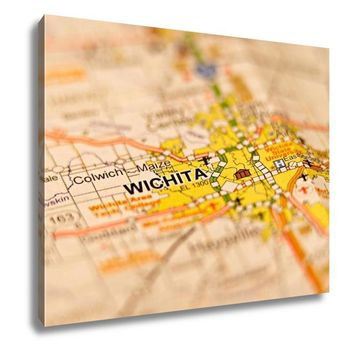 Gallery Wrapped Canvas, Wichita Kansas City Area On A Map