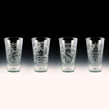 Harry Potter House Crests Pint Glass Set