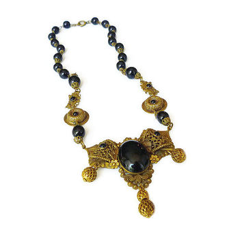 Art Deco Czech Necklace Black Jet Glass Victorian Revival Mourning Gilt Filigree Antique Jewelry