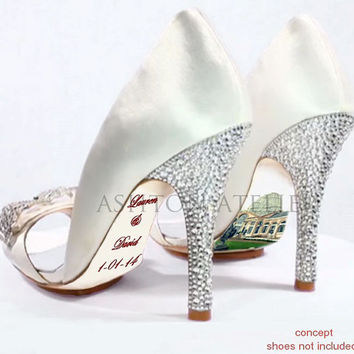 Custom hand painted Venue and Name with Date Wedding heels