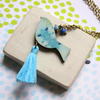 Long Necklace with Bird and Tassel in Blue -  Woody collection