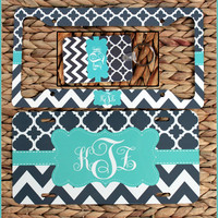 Gift Set - Front License Plate + License Plate Frame + Key Chain Custom Monogrammed Personalized Cute Car Accessories For Women Monogram