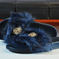 """Versace"" Fur Slipper Shoes (6- colors)"