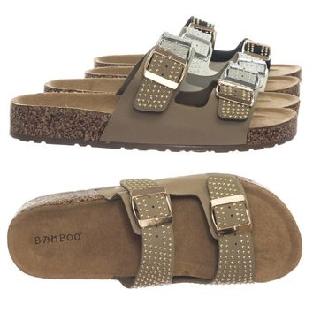 Staple01 Metal Hardware Stud Molded Cork Footbed Slipper Flatform w Buckle Strap