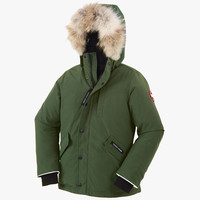 Canada Goose Kids' Youth Logan Parka with Fur Trim in Military Green - FINAL SALE