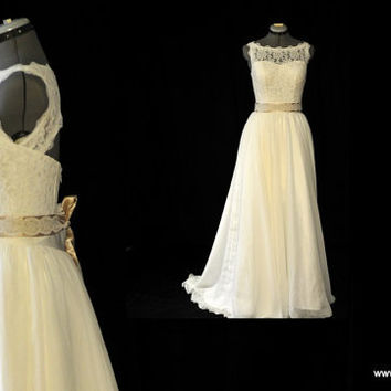 Rebecca-City Country Bride-Custom A-line Sweetheart Boat Vintage style lace chiffon wedding dress gown