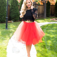 Flirty in Red Tulle Skirt
