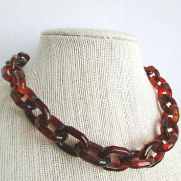 Tortoise Shell Chain Necklace, Statement Necklace, Chunky Chain Necklace, Irish Coffee