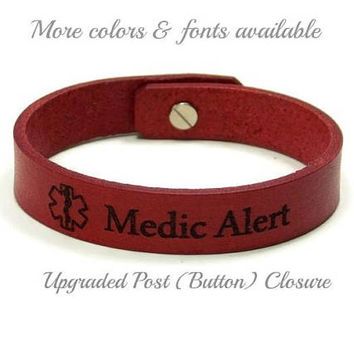 Medic Alert Bracelet, Medical Bracelet Leather, Engraved Medical ID Bracelet, Medical Alert Bracelet, Custom Leather ID Bracelet