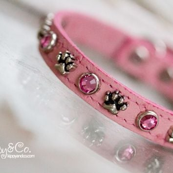 Pink Ostrich Paw Crystal Collar
