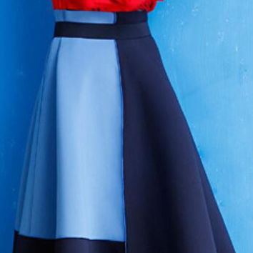 Contrast Color High Waist Pleated Long A-Line Skirt