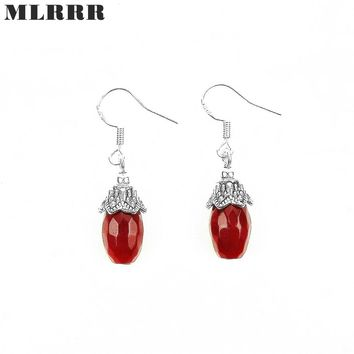 Vintage Classic Natural Stone Jewelry Romantic Rubies Chain Beaded Pendant Drop Earrings for Women
