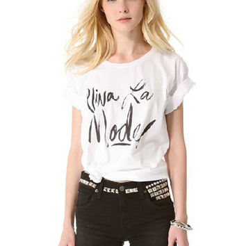White Letters Print Short Sleeve Graphic Tee