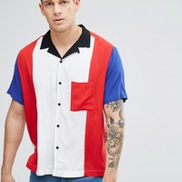 Jaded London Panel Shirt With Revere Collar Reg Fit at asos.com