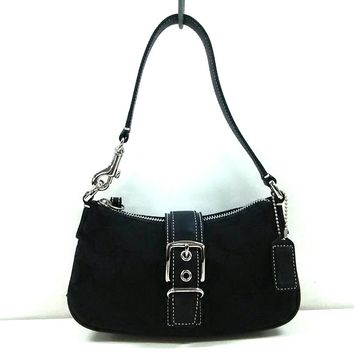 Auth COACH Signature Buckle Demi Pouch 6362 Black Jacquard & Leather Handbag