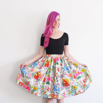 horse bird rabbit print skirt . bright colorful barkcloth fabric .small.medium