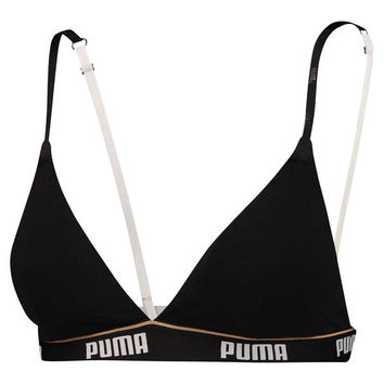 Women's Triangle Padded Bralette | black / white | PUMA Sale | PUMA United Kingdom