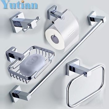 304# Stainless Steel Bathroom Accessories Set Robe hook Paper Holder Towel Bar bathroom sets acessorios do banheiro bath fitting