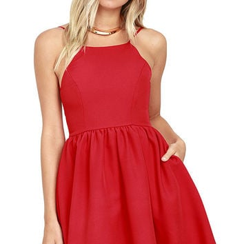 Chic Freely Red Backless Skater Dress