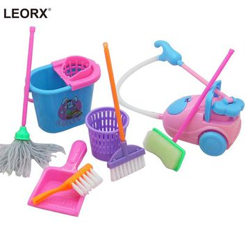 9Pcs Mini Pretend Play Mop Broom Toys Cute Kids Cleaning Furniture Tools Kit Lovely Doll House Clean Toys (Random Color)