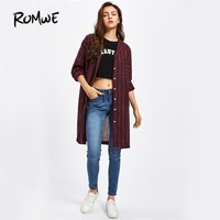 Burgundy Stripe Shirt Casual Button Up Blouse Women Lapel Autumn Tops Fall Fashion Chest Pocket Loose Blouse