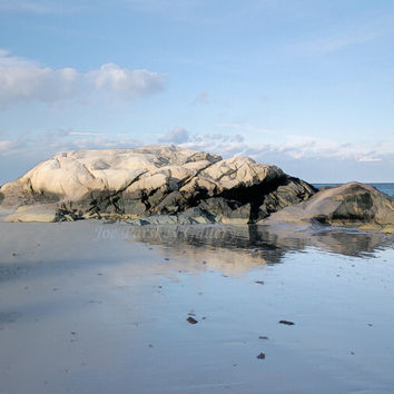 Well Rock at Minot Beach, Scituate, MA, 8x10 print in 11x14 mat, signed