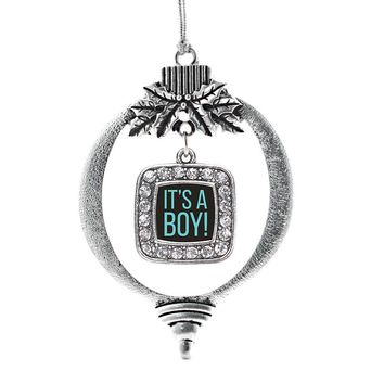 It's A Boy Square Charm Holiday Ornament