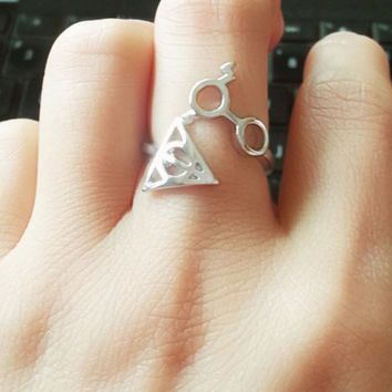 Vintage Harry Potter Deathly Hallows Glasses Ring For Women