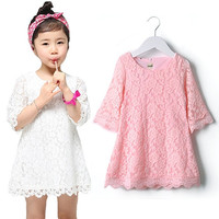 Lovely Children Girls Kid Baby Lace Princess Party Dresses Clothes White Pink OM 7_S = 1919624388