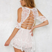 Sexy fashion off shoulder lace chest hollow backless cross romper
