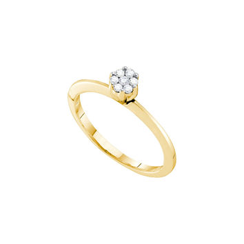 10k Yellow Gold Womens Round Diamond Cluster Bridal Wedding Engagement Promise Ring 1/8 Cttw 39810