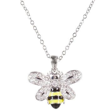 PEAPGQ9 Bee Body With Gem Wings Pendant Necklace