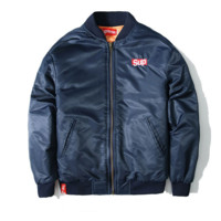 Tide brand men 's coat Supreme motorcycle baseball clothing winter casual jackets thick long - sleeved cotton Blue