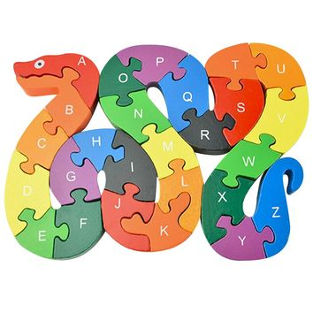 Kids Wooden Puzzle Toys Children Learning Toys Puzzle Letters Alphanumeric Lovely Snake Shape Wooden Puzzle Educational Toy Gift