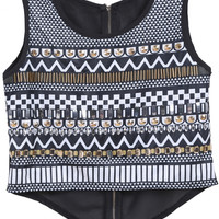 Black Sleeveless Geometric Print Rivets Embellished Crop Top