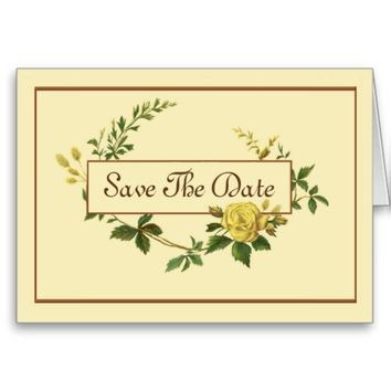 Elegant Save the Date with Vintage Yellow Rose