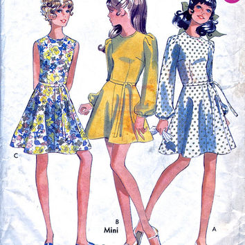 1960s Mini Dress / Flared Skater Dress - Vintage Sewing Pattern - Style 2357 - Young Junior / Teen - Bust 32""